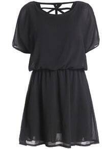 Short Sleeve Hollow Back Chiffon Black Dress