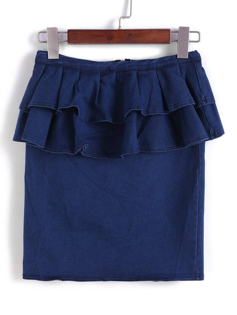 with zipper ruffle denim skirt