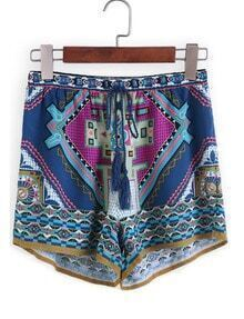 Drawstring Tribal Print Blue Shorts