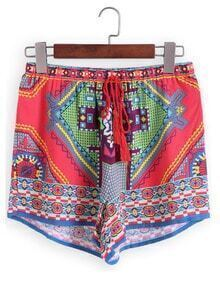 Drawstring Tribal Print Red Shorts