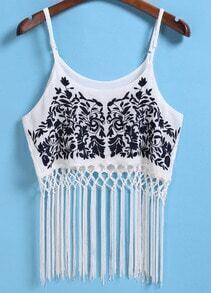 Spaghetti Strap With Tassel Embroidered White Cami Top