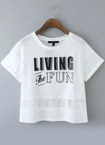 With Mesh Letter Print White T-shirt