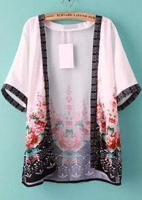 Short Sleeve Florals Chiffon Kimono