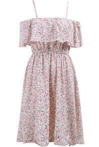 Pink Spaghetti Strap Ruffle Floral Dress