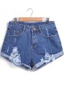 Blue Ripped Flange Denim Shorts