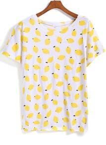 Yellow Short Sleeve Lemon Print T-Shirt