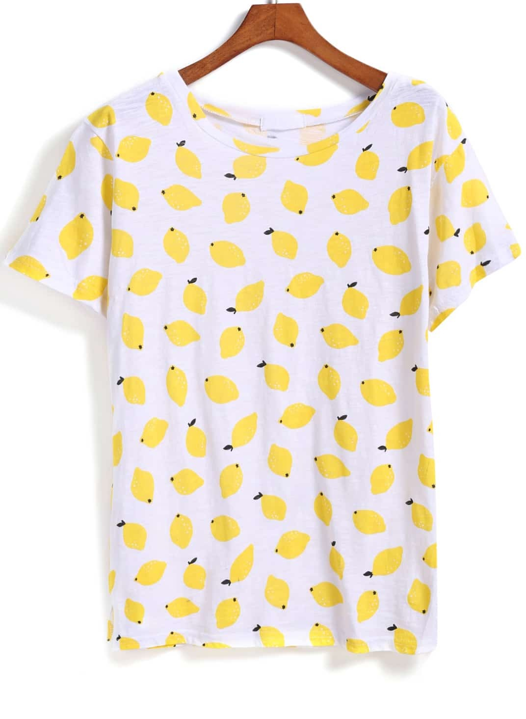 Yellow short sleeve lemon print t shirtfor women romwe for Print photo on shirt