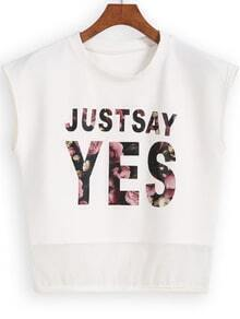 White Round Neck JUSTSAY YES Print Mesh Tank Top
