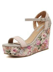 Pink Florals Slingbacks Wedges Sandals