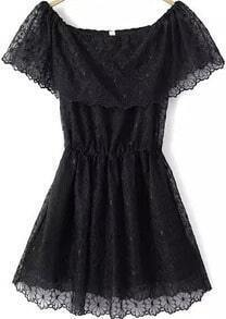 Boat Neck Lace Embroidered Black Dress
