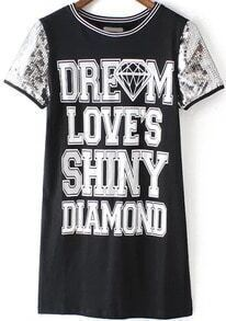 With Sequined Letter Print Black Dress