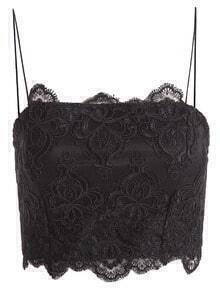Spaghetti Strap Back Zipper Lace Black Lingerie