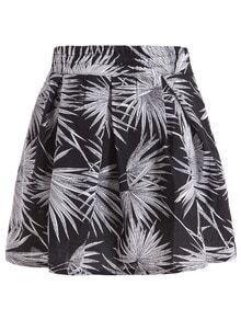 Elastic Waist Tropicals Print Skirt
