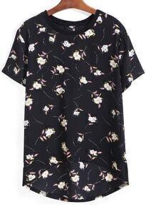 Dip Hem Flower Print Black T-shirt
