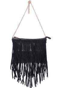 Black With Tassel Zipper Shoulder Bag