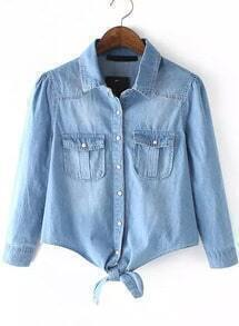 Lapel With Pockets Knotted Denim Top