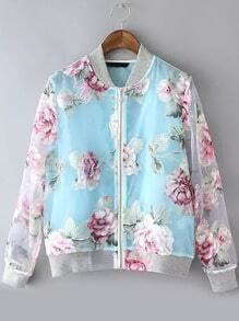 Stand Collar Florals Organza Coat