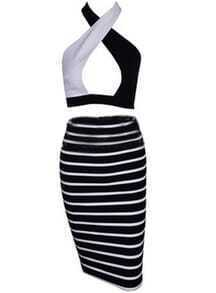 Halter Hollow Crop Top With Striped Bodycon Dress