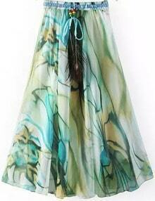 Green Drawstring Waist Peacock Print Skirt