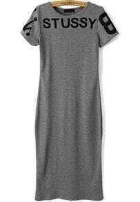 Grey Short Sleeve STUSSY 8 Print Dress