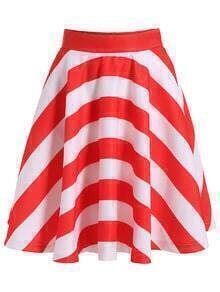 With Zipper Striped Flare Skirt