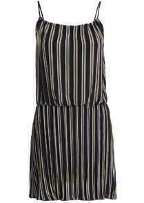 Spaghetti Strap Vertical Striped Chiffon Dress