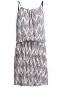 Spaghetti Strap Zigzag Chiffon Dress