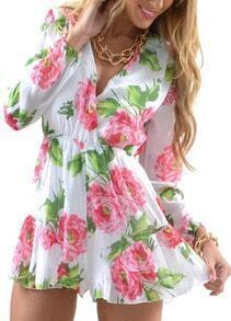 V Neck Slim Floral Jumpsuit