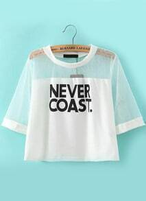 With Sheer Mesh Letter Print T-shirt