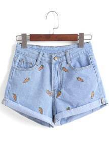 Carrot Embroidered Cuffed Denim Shorts