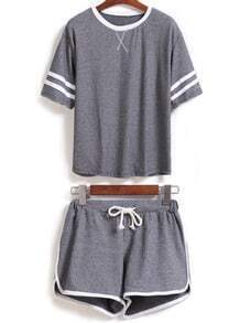 Contrast Collar Short Sleeve Top With Drawstring Grey Shorts