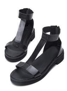 Black Back Zipper T Strap Sandals