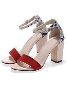 Red Snakeskin Slingbacks High Heeled Sandals