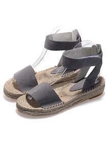 Grey Strappy Flat Sandals