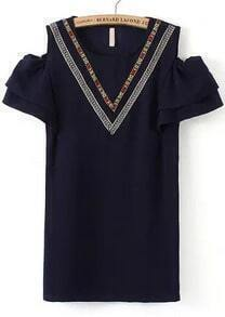 Open Shoulder Embroidered Shift Navy Dress
