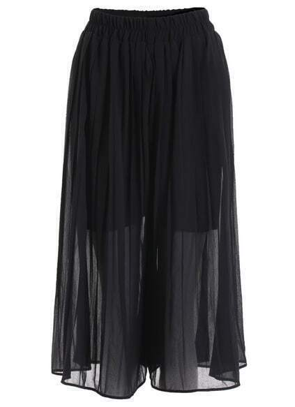 Elastic Waist Chiffon Black Skirt pictures