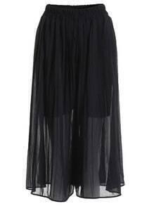 Elastic Waist Chiffon Black Skirt