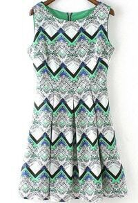 With Zipper Tribal Print Sun Dress