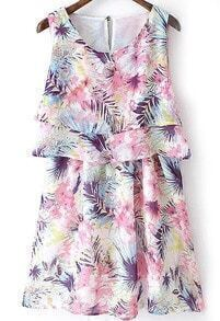 Tropicals Print Chiffon Sun Dress