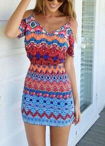 Off The Shoulder Tribal Print Bodycon Dress