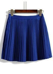 Elastic Waist Pleated Royal Blue Skirt