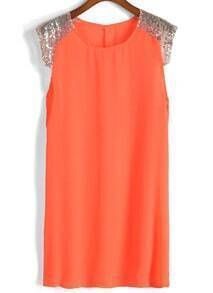 With Sequined Shift Chiffon Dress
