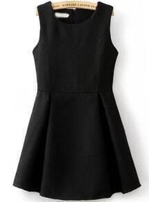 Black Sleeveless Flare Tank Dress