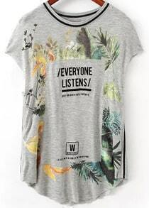Grey Short Sleeve Floral Letters Print T-Shirt