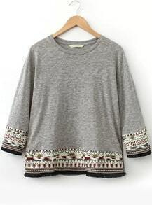 Grey Round Neck Tribal Embroidered T-Shirt