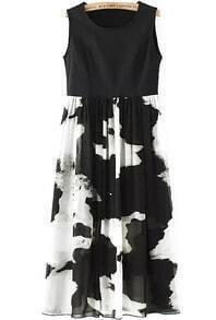 Sleeveless Ink Print With Chiffon Sun Dress