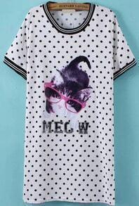 Cat Print Polka Dot Shift White Dress