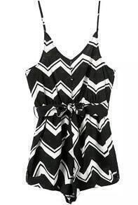 Spaghetti Strap With Belt Zigzag Black Jumpsuit