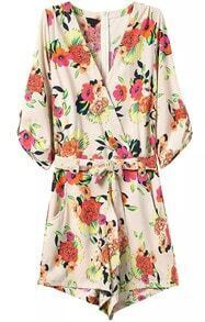 Deep V Neck With Belt Florals Jumpsuit