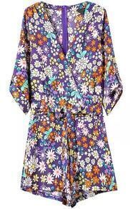 Deep V Neck Back Zipper Florals Jumpsuit